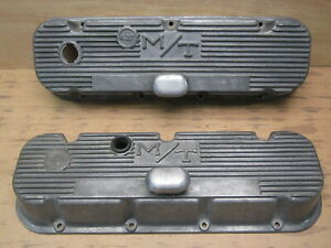 M t 427 Big Block Chevy Finned Aluminum Valve Covers W Breather Mickey Thompson