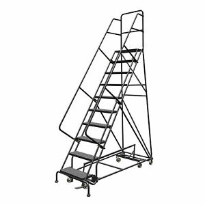 10 step Steel Rolling Ladder W perforated Steps 100inh Top Step 24in 450lb Cap