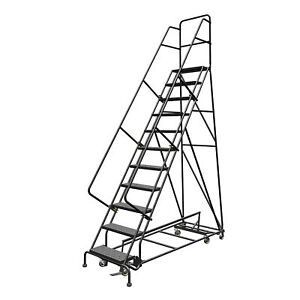 11 step Steel Rolling Ladder W perforated Steps 110inh Top Step 24in 450lb Cap