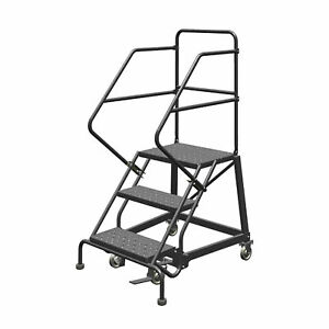 3 step Steel Rolling Ladder W perforated Steps Gry 30inh Top Step 24in 450lb Cap