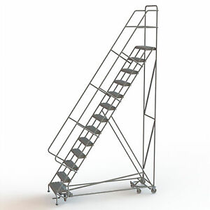 13 step Steel Rolling Ladder W serrated Steps Gry 130inh Top Step 24in 450lb Cap