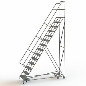 14 step Steel Rolling Ladder W serrated Steps Gry 140inh Top Step 24in 450lb Cap