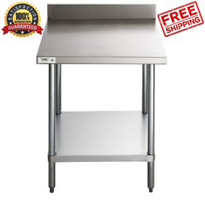 30 X 30 18 gauge 304 Stainless Steel Commercial Work Table With 4 Backsplash