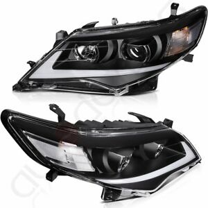 For Toyota Camry 2012 2014 Headlight Assembly Black Headlamp Drl Led Replacement
