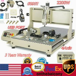 Usb 4 Axis 2 2kw Spindle vfd Engraver Cnc 6090t Router Milling Engraving Machine