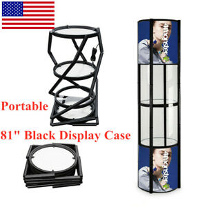 Portable 81 Black Panels Spiral Tower Display Case Rack 5 Layers With Shelves