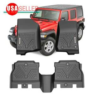 Floor Mats All Weather For 2018 2019 2020 Jeep Wrangler Jl 4 Door Front