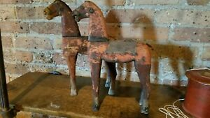 2 Vintage 19th Century 12 In Wood Toy Horses Folk Art Original Paint Old Patina