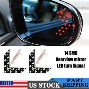 2x Car Auto Side Rear View Mirror Red Led Lamp Turn Signal Light Indicator Light