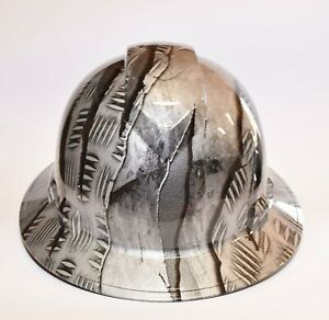 Custom Wide Brim Hard Hat Hydro Dipped In Raptor Torn Metal