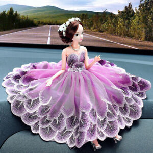 Purple Peacock Wedding Dress Cute Dolls Car Accessories Interior Girl Decoration