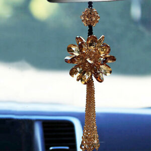 Gold Color Crystal Flower Hanging Ornament Car Rear View Mirror Car Accessories
