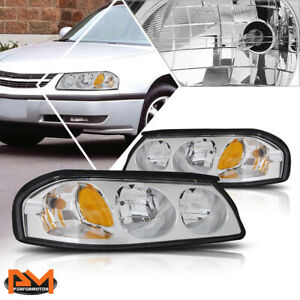 For 00 05 Chevy Impala Chrome Housing Amber Corner Signal Headlight lamps Pair