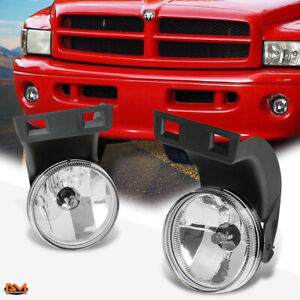 For 94 98 Dodge Ram Pickup Clear Lens Front Bumper Driving Fog Light Lamp Pair
