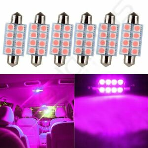 6x Purple 42mm 8 Smd 5050 Car Working Bulbs Interior Festoon Led Lights Lamps