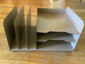 Vintage Steelmaster Office Desk Tier Letter Tray Paper Organizer Industrial Slot