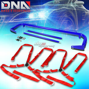 Blue 49 stainless Steel Chassis Harness Rod red 4 pt Strap Camlock Seat Belt