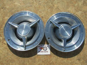 1962 Pontiac Bonneville Catalina 14 Spinner Wheel Covers Hubcaps Pair Of 2