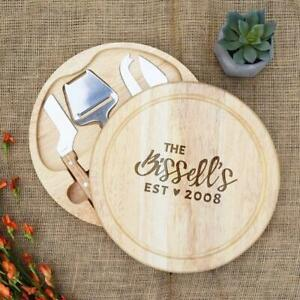 Cursive Family Name With Est Date And Heart Circular Cheese Board