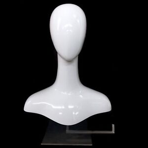 White Gloss Mannequin Hat Display Counter Top Head Necklace Bust Jewelry Scarf