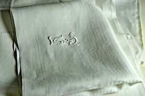 Vintage White Linen Damask Art Deco Tablecloth With 13 Napkins J Monogram Vv5