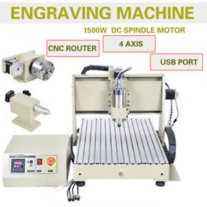 4 Axis Usb 1 5kw Spindle vfd Cnc 6040t Router 3d Cutting Engraving Machine Rc