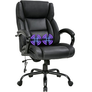 Big And Tall Office Chair 500lb Wide Seat Desk Chair With Lumbar Support Armrest