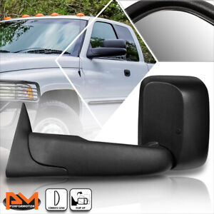 For 94 02 Dodge Ram 1500 2500 3500 Manual Telescoping Black Towing Mirror Left