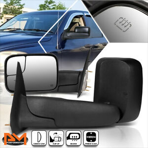 For 02 09 Dodge Ram 1500 2500 3500 Powered Heated Black Side Towing Mirror Pair