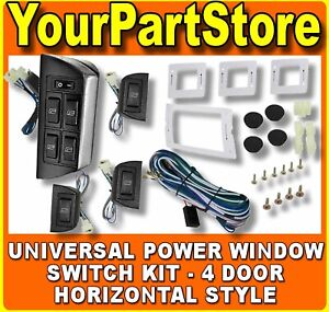 Universal Power Window Horizontal Style Switch Kit 4 Door Chevy Ford Gm Car Suv
