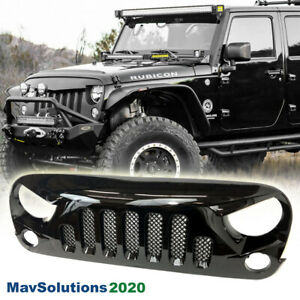 Fits For 2007 2017 Jeep Wrangler Front Grille Glossblack W Mesh Jkskull Style