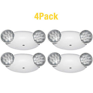 4 X Led Emergency Exit Light Dual Head Wall And Ceiling Emergency Sign Lamp Ul