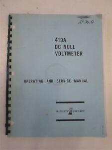 Hp 419a Dc Null Voltmeter Operating And Service Manual Used