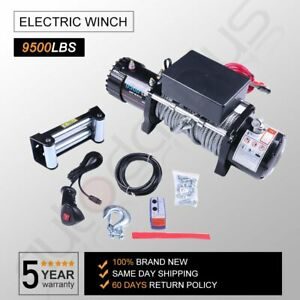 9500lb 4wd Offroad Electric Recovery Winch 80 Steel Rope Remote Control