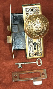 Antique Mortise Brass Gothic Lock Set With Key Plates And Knobs