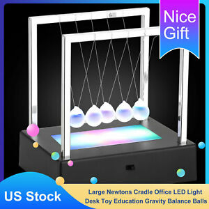 Newtons Cradle Led Balance Balls Home Decor Office Desk Kids Toy Education Gifts