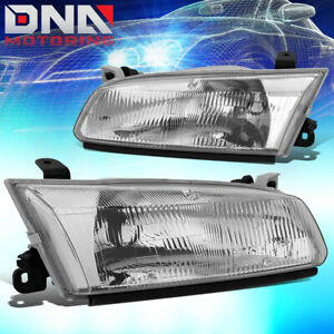 For 1997 1999 Toyota Camry Chrome Housing Clear Side Turn Headlight Headlamps