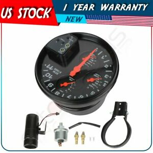 4 In 1 5 Inch Led 11kpa Rpm Tachometer Oil water Temp Gauge With Light Black