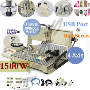 1 5kw Spindle vfd Usb 4 Axis 6090z Engraver Cnc Router Carving Engraving Machine