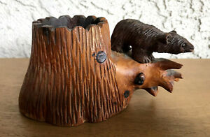 Vtg Hand Carved Wooden Brown Bear On Lg Tree Trunk 6in W 3in L 3 25in T