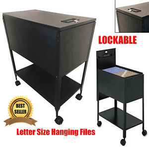 File Rolling Cart Letter Size Hanging Files Locking Holder Office Organizer New