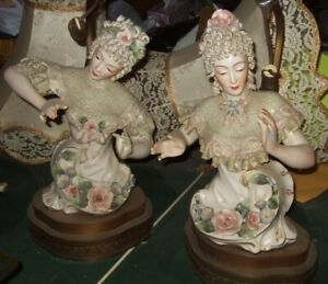 Pair Asian Figural Lamps Cordey American Art Pottery
