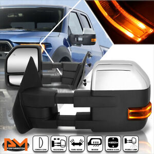 For 04 14 Ford F150 Power heated Chrome Towing Mirror W led Signal puddle Lamp