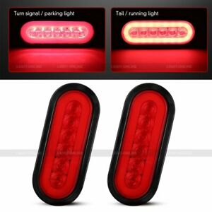 2 X Trailer Truck 6 Led Sealed Red 6 Oval Stop turn tail Light Waterproof