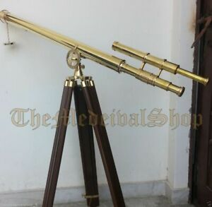 Antique Double Barrel Brass Telescopes Tripod Stand Astrology View Telescope