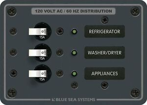 Blue Sea Ac 3 Position Toggle Circuit Breaker Panel 120v White Switches 8058