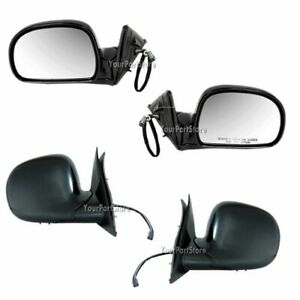 94 97 Chevy S10 Pu Truck Power Door Mirror Mirrors Black Left Right Set Pair
