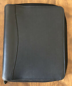 Franklin Covey Quest 7 Ring Binder Planner Black Leather Gently Used Large