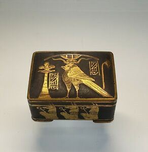 Antique Egyptian Revival 2 Toned Brass Hinged Box Cats And Birds Glyphs
