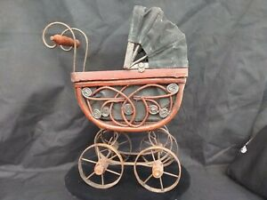 Vintage Wicker Doll Buggy Antique Wood Metal Style Baby Carriage 11 1 2 X 9 1 2
